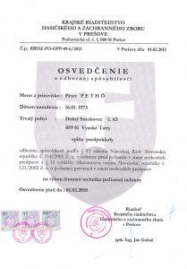 Osvedčenie Krajské riaditeľstvo hasičského a záchranného zboru v Prešove